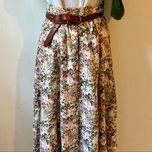Vintage Express button down floral maxi skirt